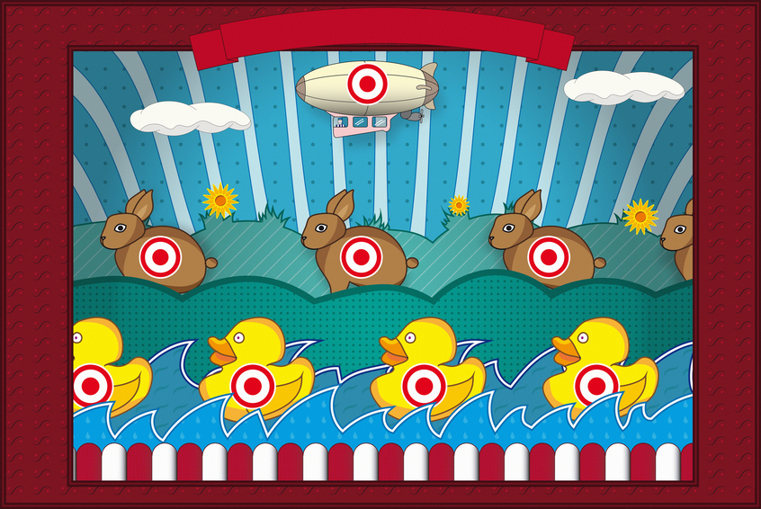 Illustration of a vintage shooting gallery with rabbits and ducks.
